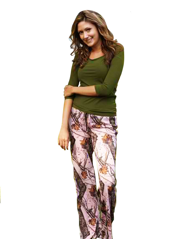 Pink Mossy Oak Camouflage Pants For Women