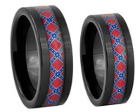 Couples Confederate Flag Ring Set - His and Hers