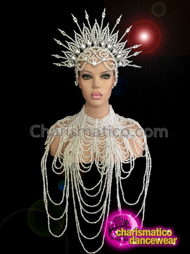 CHARISMATICO Delicate Spiked Shimmering Pearl Headdress