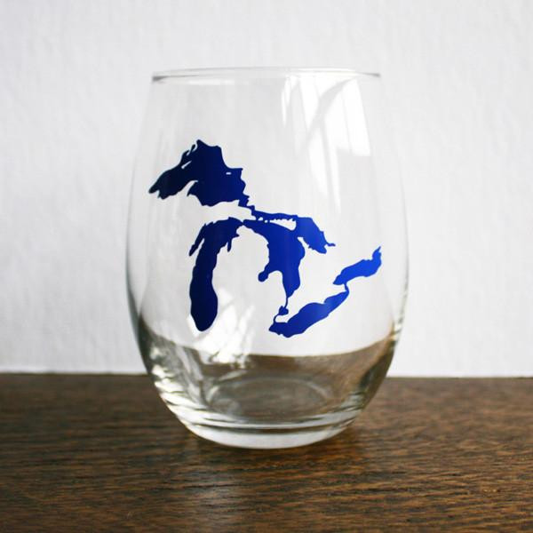 Great Lakes Stemless Wine Glass Michigan Pride Great