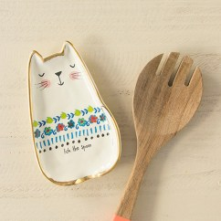 Kitchen Spoon Rest Marble Table Lick The Bowl Cat Supplies Dishes Cute Gift Pet Lover