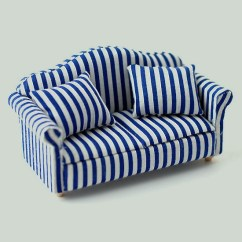 Blue Striped Sofa Uk 1 Seater Set Dolls House Gallery Collectables White Image