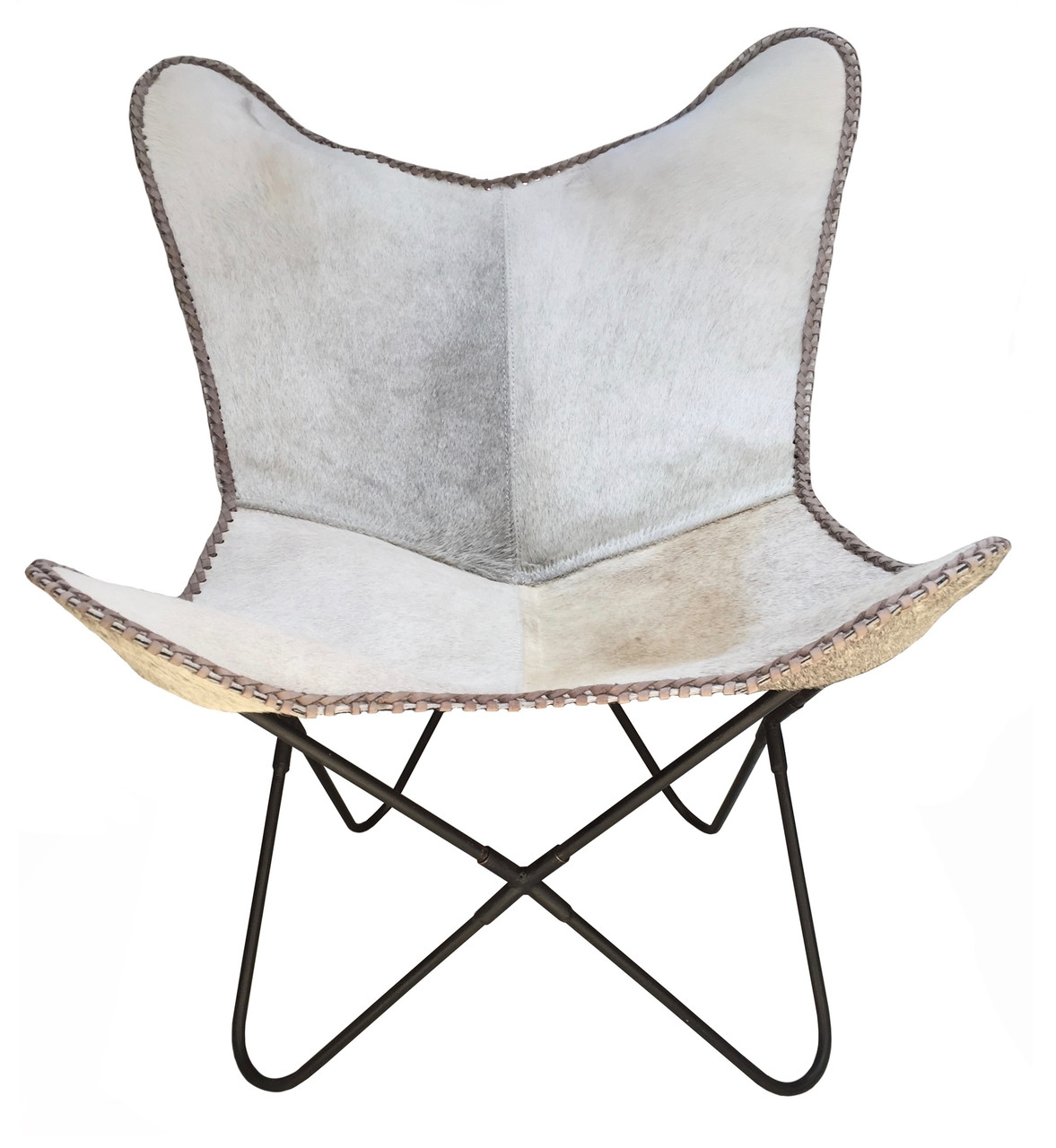 Cow Hide Chair Lady Butterfly Chair In Grey Cowhide On Sale