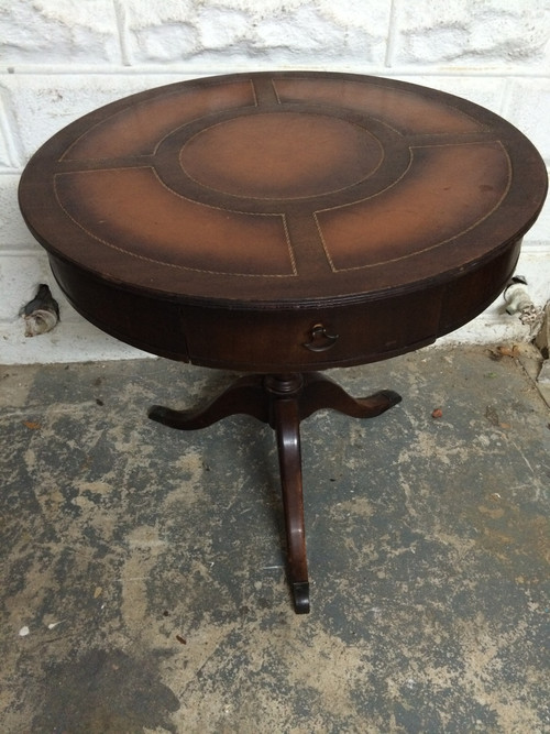 Antique Mahogany Round Leather Top Pedestal Table