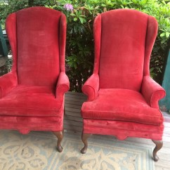 Red Velvet Office Chair Rolling Stool Pair Of Vintage High Back Queen Anne Arm Chairs