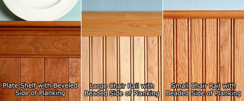 Maple Fireplace Mantel Shelf Wainscoting Plank Kit | Wk 46 | Medium Height Beadboard