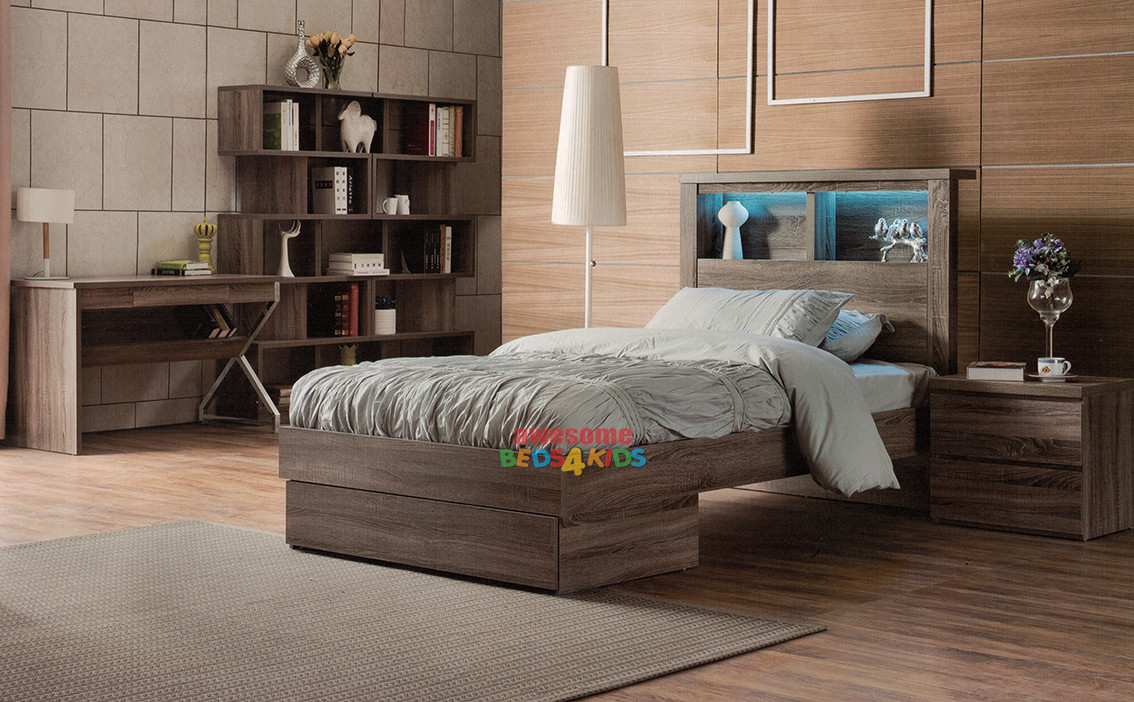 1 Benowa Single Or King Single Bed With End Drawer Mocha