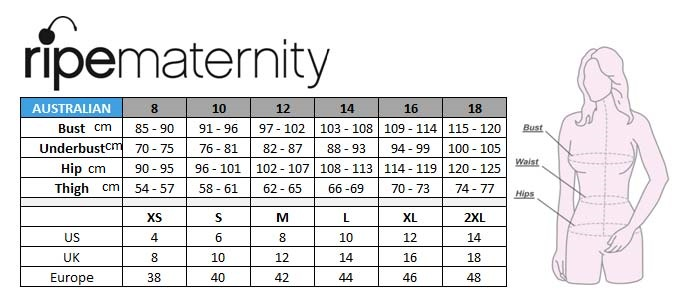 Ripe maternity size chart cmg also motherhood closet consignment rh motherhoodcloset