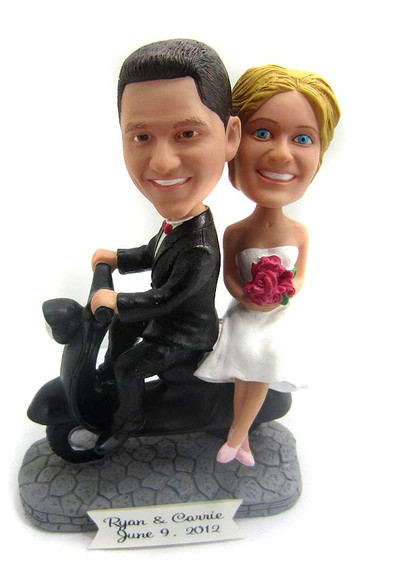 Custom Scooter Couple Wedding Cake Topper