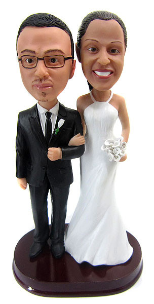 Tall bride and short groom wedding cake toppers