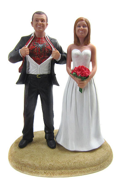 Custom Spiderman Groom Classic Wedding Cake Topper With