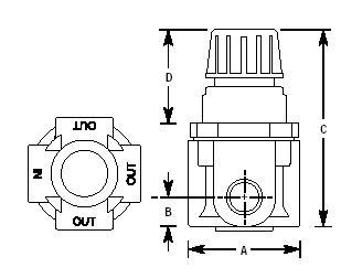 Arrow Pneumatics Miniature Air Pressure Regulator 1/4