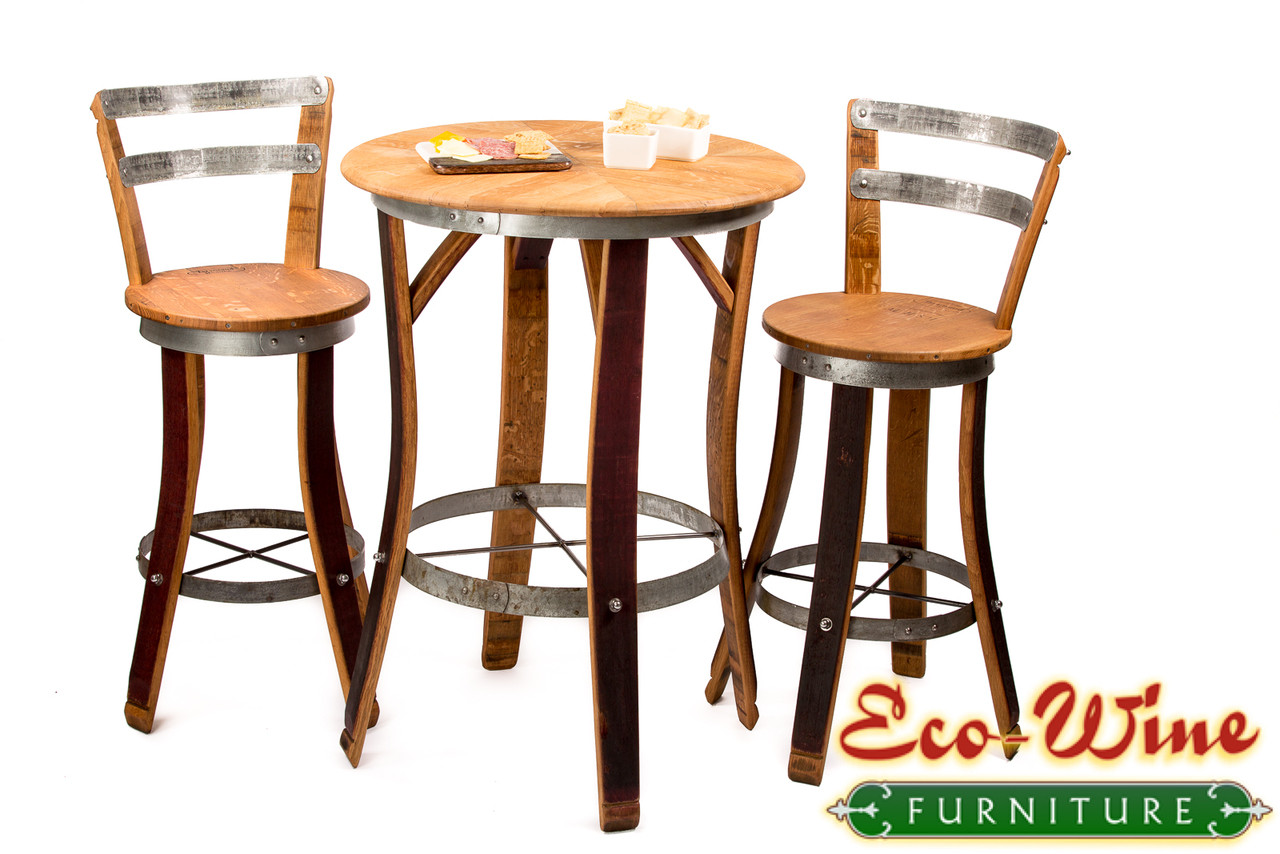 bistro tables and chairs parsons chair covers wine barrel furniture table his popular set includes the bartoli two with galvanized