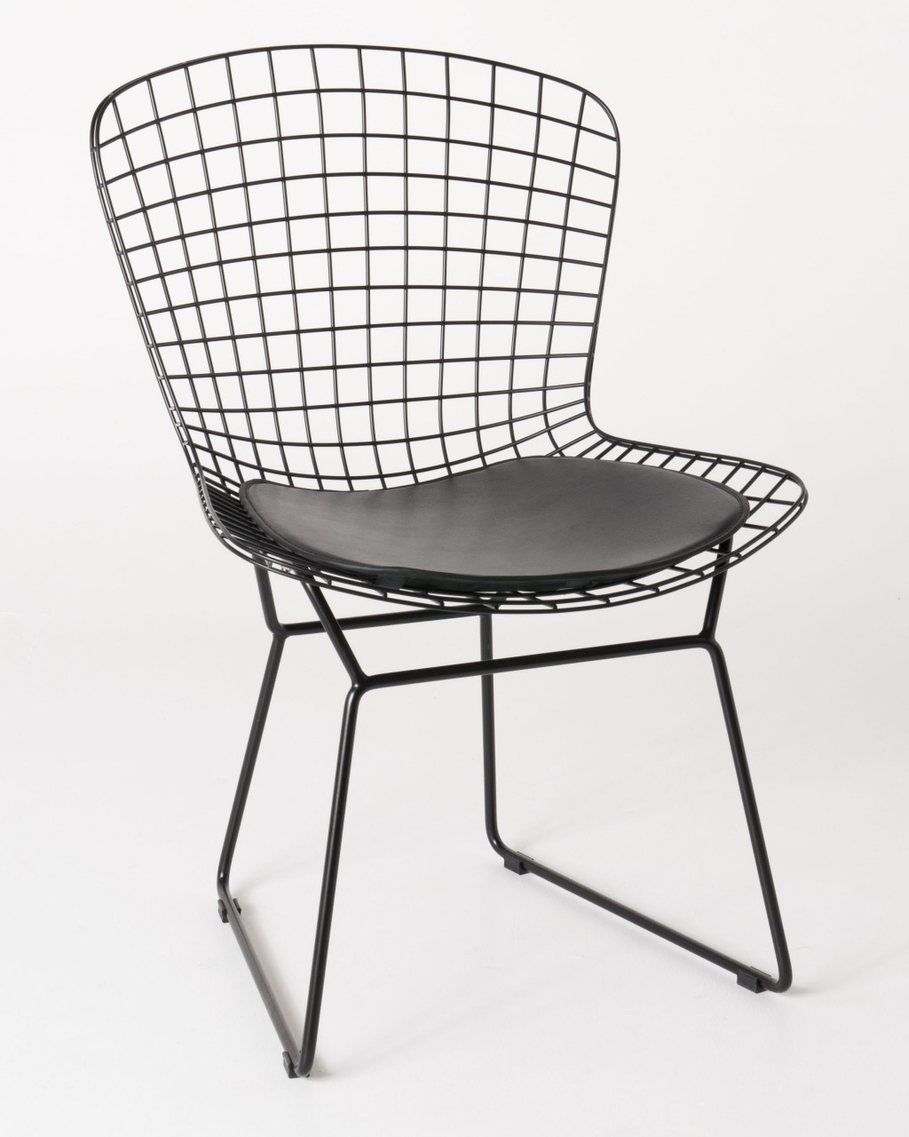Harry Bertoia Chair Replica Bird Chair Black Powder Coated With Black Cushions