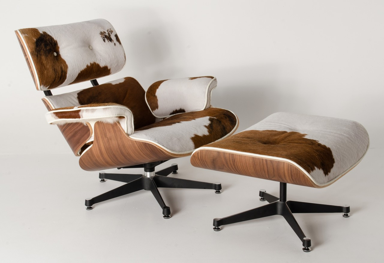 Cow Hide Chair Replica Eames Lounge Chair Ottoman Brown Cowhide Leather