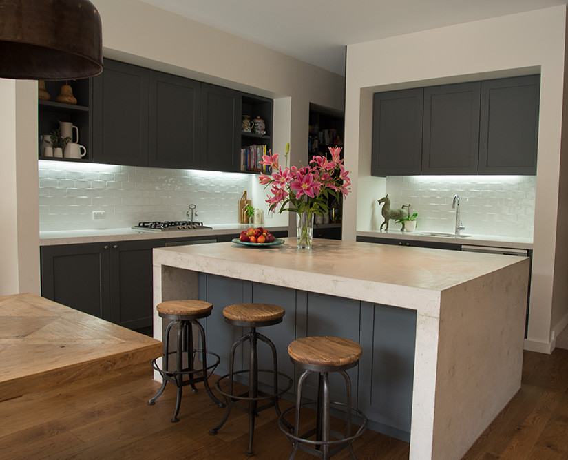 Industrial Iron Stools in a Modern Kitchen