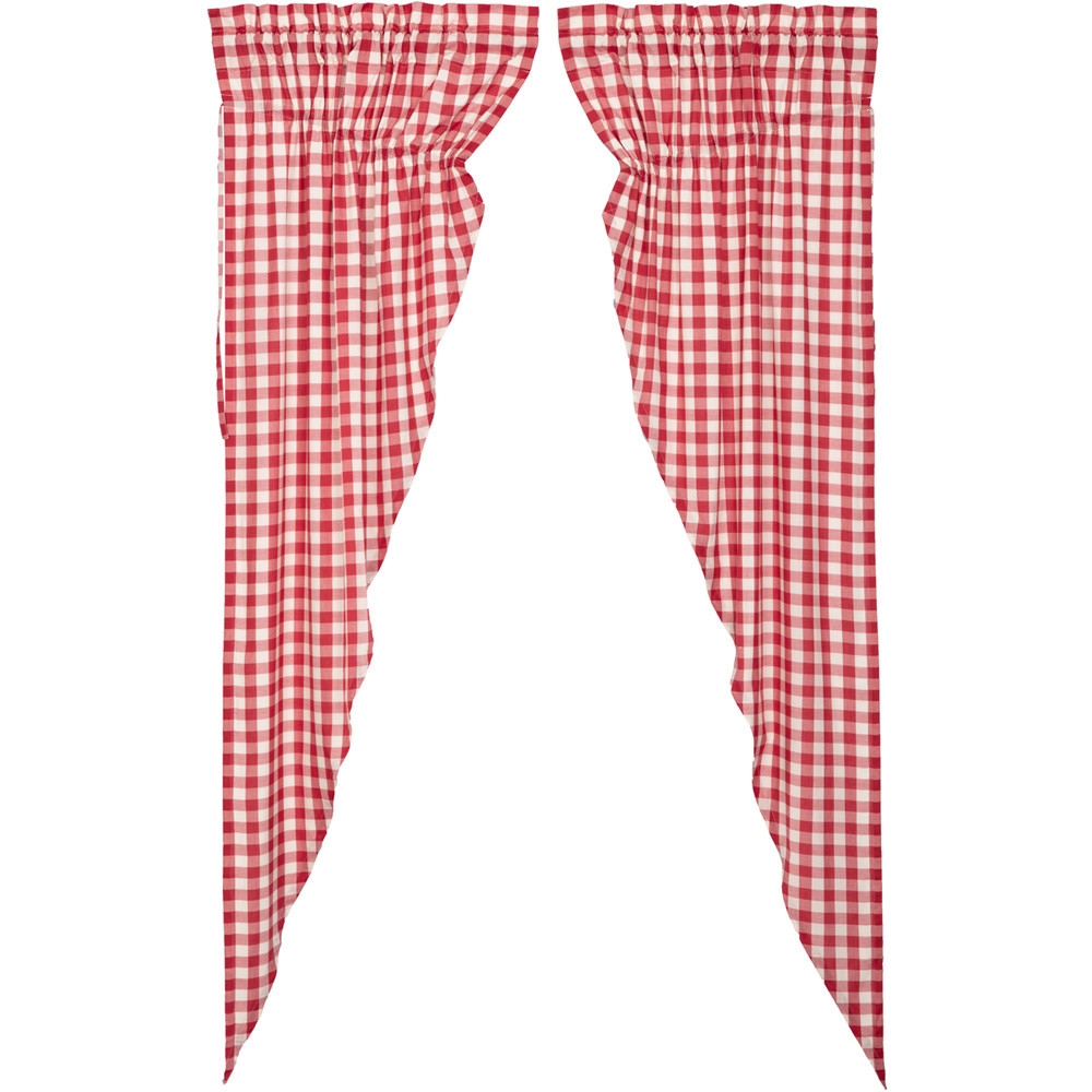 Annie Buffalo Red Check Long Prairie Curtain Set By VHC Brands