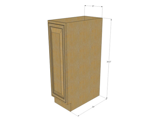 Regal Oak Small Base Cabinet with Single 9 Inch Door