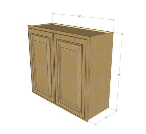 Large Double Door Regal Oak Wall Cabinet  30 Inch Wide x