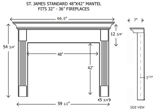 Maple Fireplace Mantel Shelf 48x42stjames.jpg