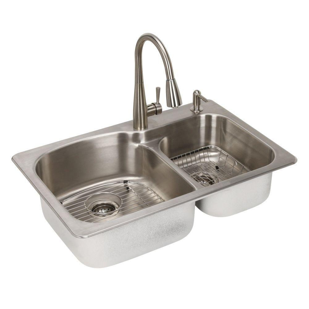 http www theopenboxshop com glacier bay all in one top mount stainless steel 22 in 2 hole double bowl kitchen sink in brush
