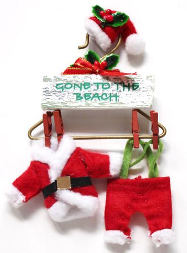 Wood Santa Claus Suit Ornament Christmas Ornaments