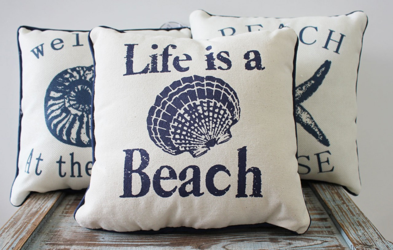 beach themed sofa pillows boardwalk corner furniture village nautical sayings 10 quot throw home decor