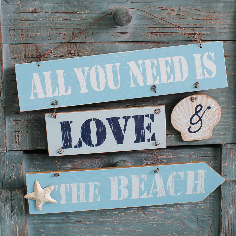 Download Love & the Beach Sign - Coastal Cottage Wall Decor ...