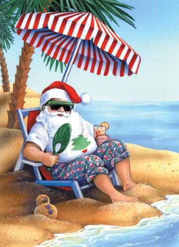 santa claus beach holiday