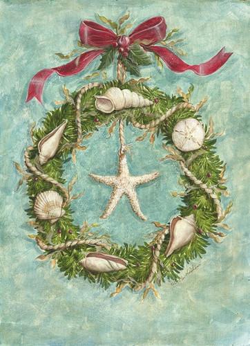 Beach Wreath Holiday Cards Coastal Christmas Stationery