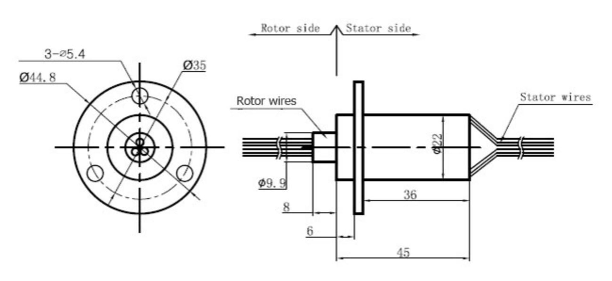 Wind Generator Slip Ring 3 Wire 30 Amp Per Conductor Wire