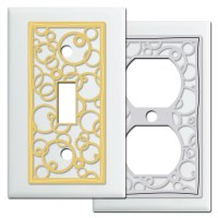 Abstract Circles Light Switch Plates in White - Kyle Design