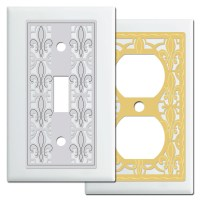 Fleur de Lis French Light Switch Wall Plates in White ...