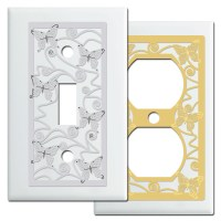 Butterflies Decorative Light Switch Plates in White - Kyle ...