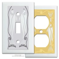 Fish Decorative Light Switch Plates in White - Kyle Design