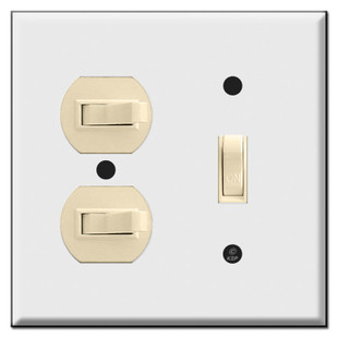 Vertical & Horizontal 3 Toggle Combo Wall Switch Plates