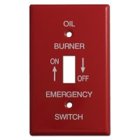 Red Single Toggle Emergency Oil Burner Switch Plate Covers