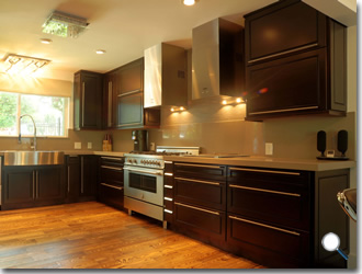 best wood stain for kitchen cabinets home depot faucets moen espresso maple - rta cabinet hub bean