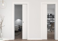 A pocket door system for two single doors in the same wall