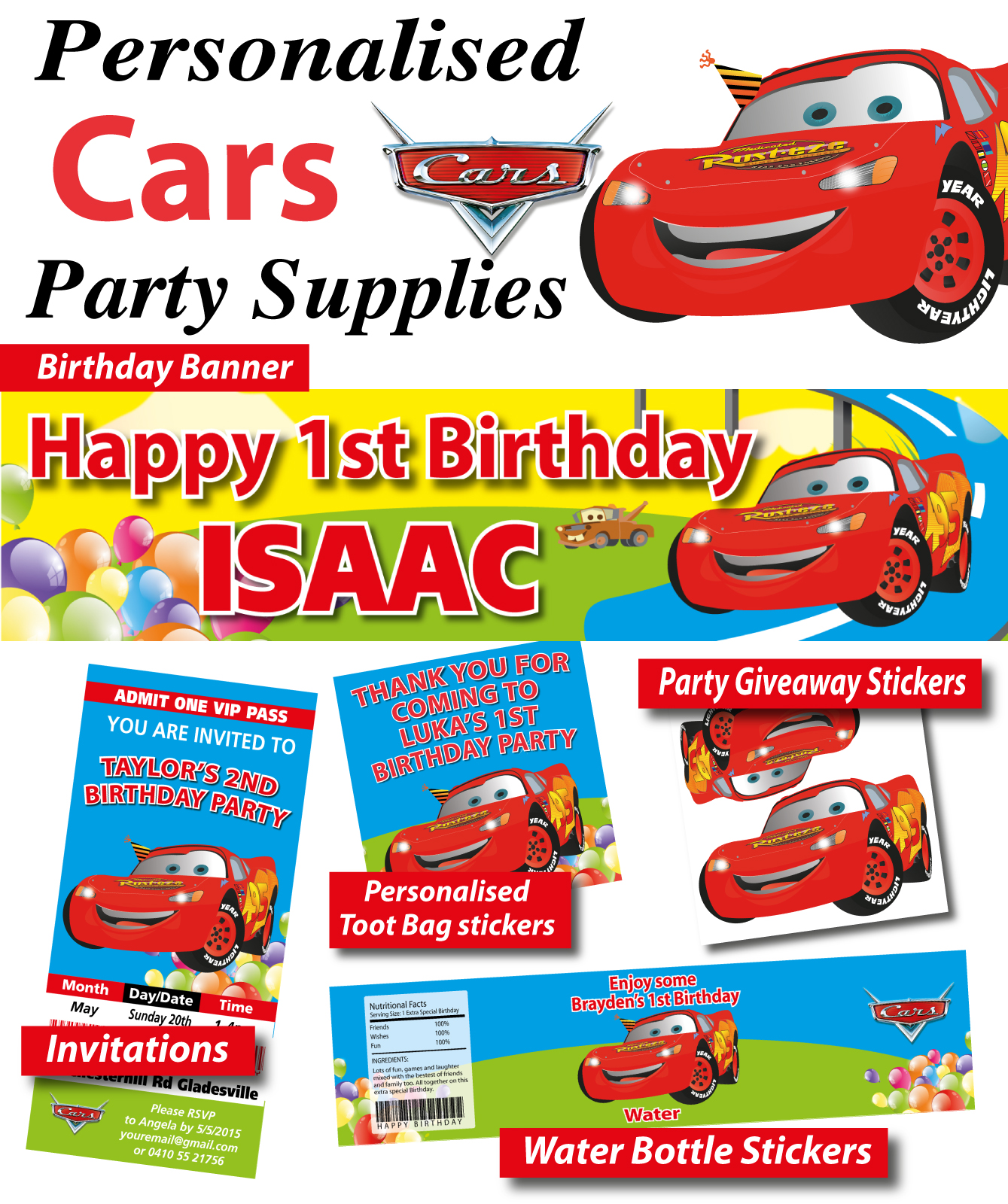 cars lightning mcqueen birthday party banner decorations supplies