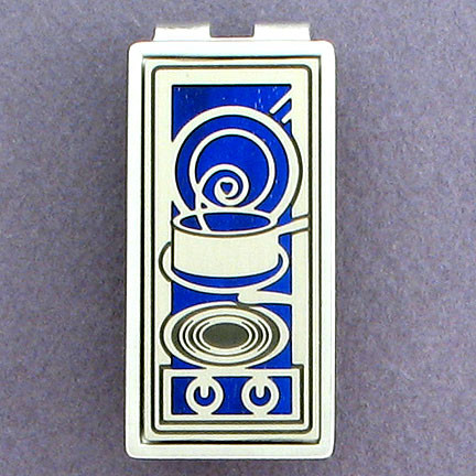 Engravable Silver Money Clip for a Chef