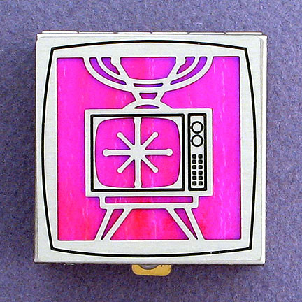 Pink and Silver TV Pill Box from Kyle Design