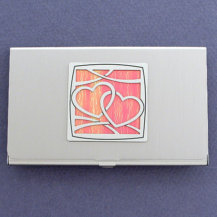 Silver Heart Business Card Holder for Women