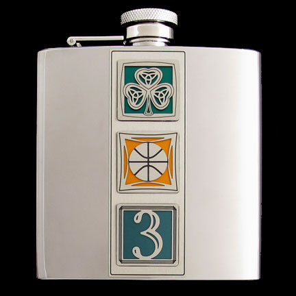 "6 Oz. Polish Boston ""Big Three"" Celtics Stainless Steel Flask for Avid B-Ball Fans."