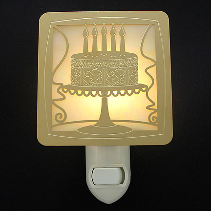 Custom Night Light with Birthday Cake Design