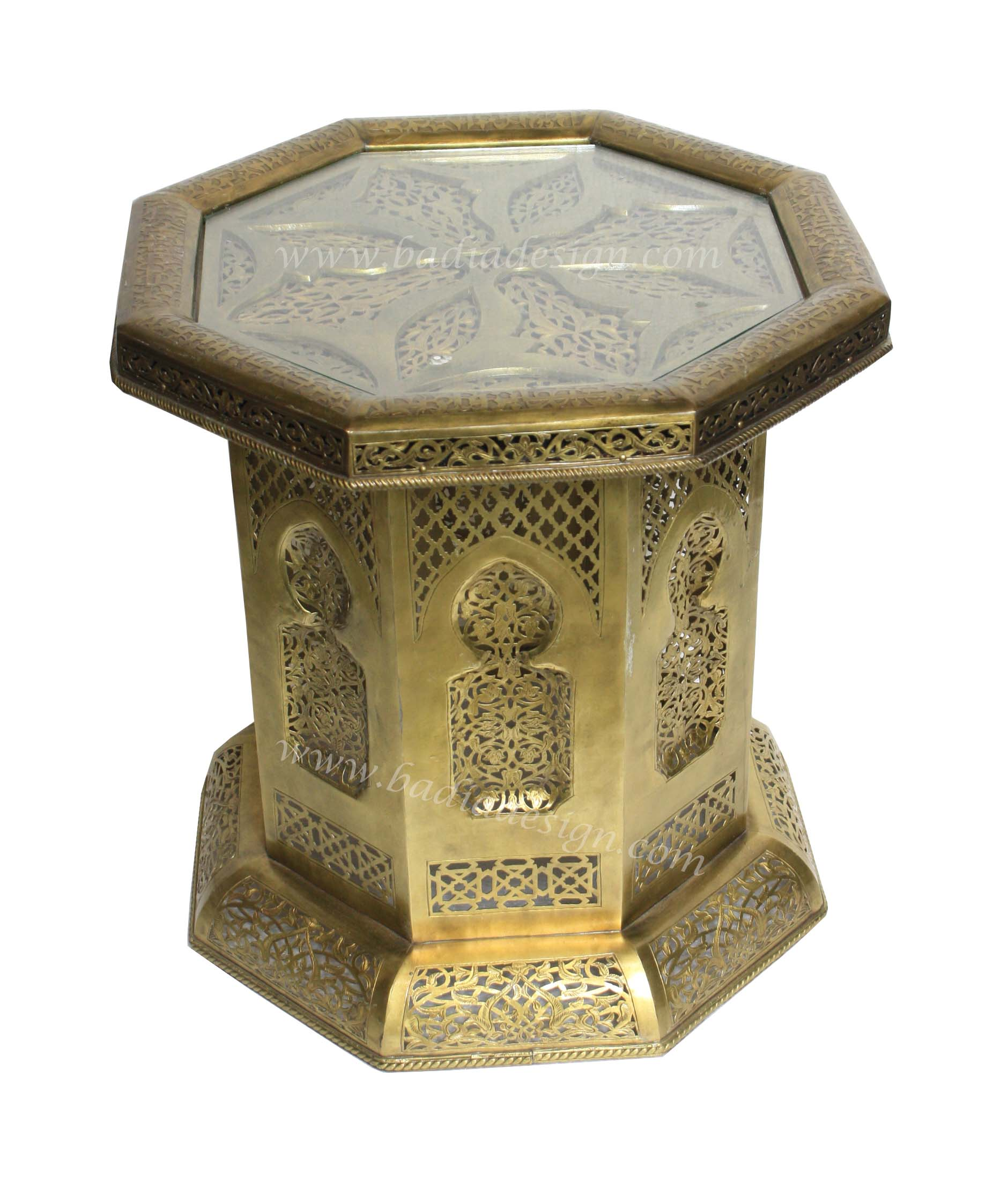 Moroccan Hand Punched Brass Side Table with Glass Top from ...