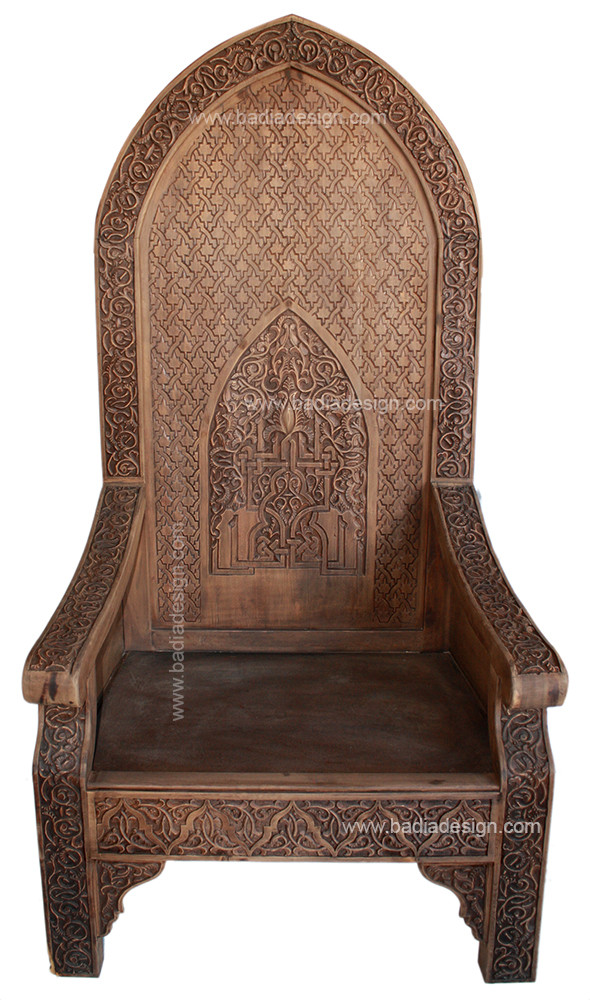 Moroccan Hand Carved Wood Chair