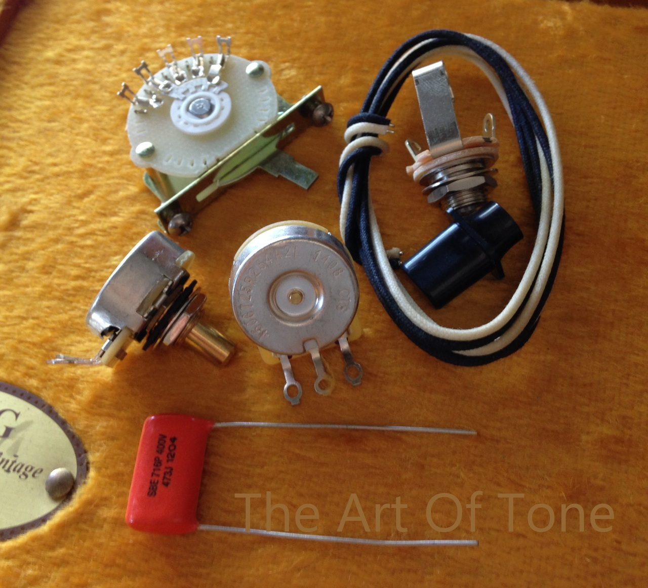 hight resolution of deluxe tele 4 way wiring kit telecaster cts 450g pots 047uf orange drop cap