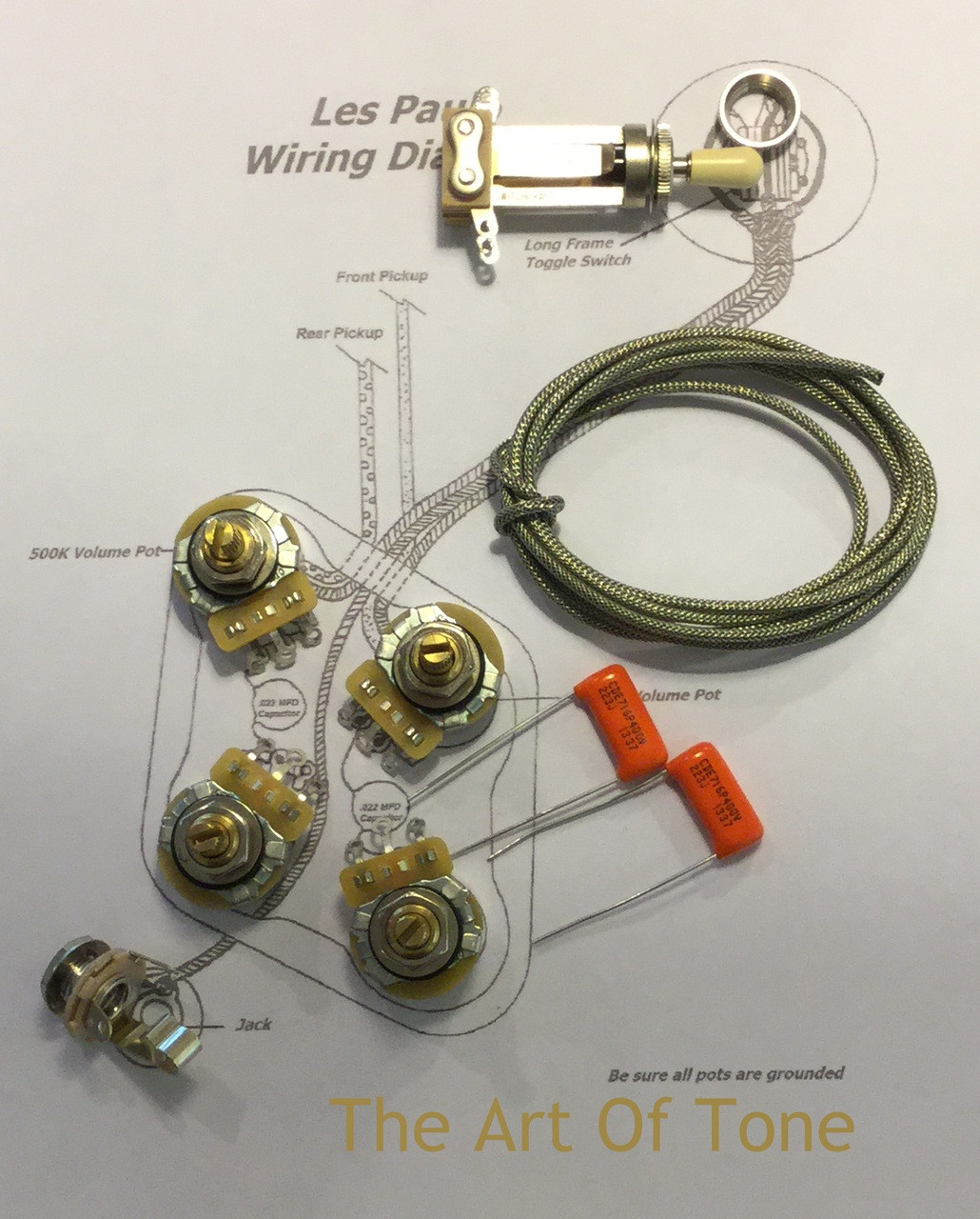 small resolution of taot wiring kit gibson les paul short shaft cts 525k orange drop