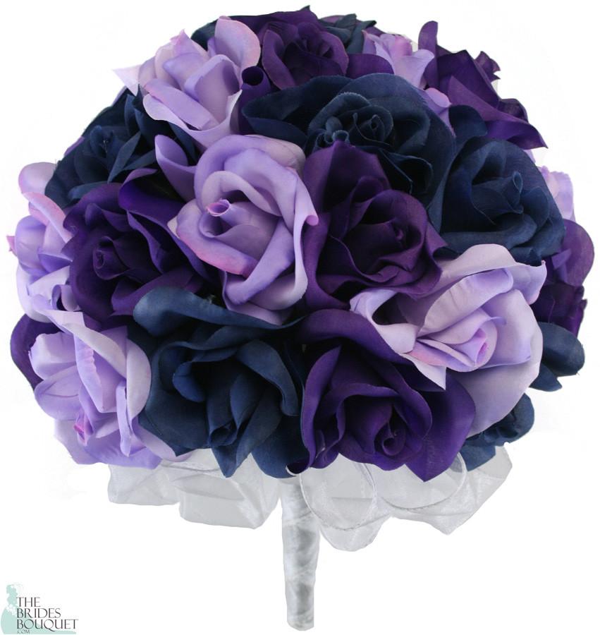 Navy Blue Lavender and Purple Silk Rose Hand Tied Wedding